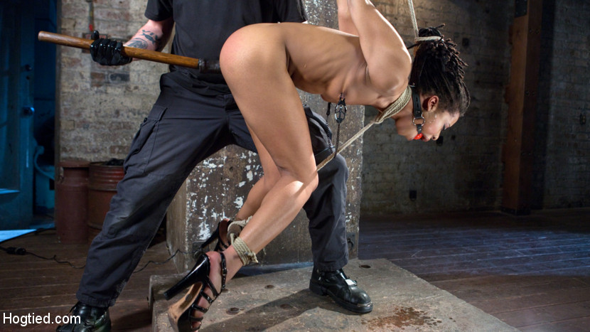 All natural ebony newcomer in brutal bondage and suffering like