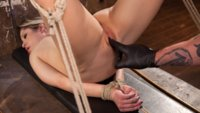 Goldie is the perfect girl next door with her petite features and sweet little smile, but when she is bound in rope bondage she begs for the pain like