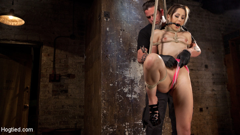 Cute la porn bitch in brutal bondage and abused then made to