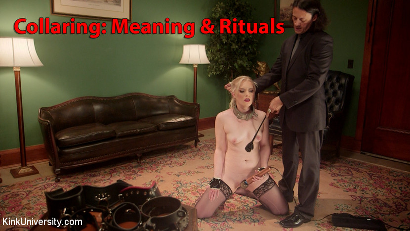 Collaring the bond beyond the bondage. Learn about the Collar and the act of collaring--its meaning and rituals. This tutorial is for couples who are trying exploring a deeper, more committed Master/slave, Dominant/submissive relationship through collaring, including collar protocols. Discover the secrets of the Collar, how it is viewed by the Master and slave, along with all the deep meanings attached to this most powerful object and its all-encompassing representation, along with the sacredness that it stands for and protects. Sir Nik and Dresden discuss and demonstrate some meaningful ways collars can be used to create scenes and strengthen the bond between BDSM partners.