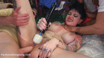 Draven Starr upholds her title as the filthiest woman alive with a sloppy wet gangbang filling all her juicy holes by 5 guys!