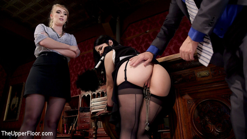 Serving the house babe realtor punish have sexual intercourse. Two pretty complaisant women with voluminous bouncy butts serve rough tool and get the daylights fuck out of them in tight rope bondage all afternoon while having their pussies punished with electro play, floggers, spanking, and clamps. Harley Jade walks into The Upper Floor like she owns the place, because she almost does. With plans to sell the House to a new buyer, Harley plots to tear the house down and turn it into condos. Tommy Pistol is the perfect steward of the house, preserving both the lifestyle and the integrity of the House with sultry slut maid Yhivi at his side. Cleverly leveraging Harley's greed against her, he gets her to agree to 24 hours of rough servitude in exchange for a signed contract, and immediately strips this uppity slut down and teaches her what BDSM can offer to a complaisant woman like herself. After a lovely afternoon of extreme rope bondage fucking, ass sex, choking on tool, orgasms denial, clamps, corporal punishment, and bonding with her slave sister, Harley is fully inducted into the House and agrees to protect its integrity. Well done Ladies!
