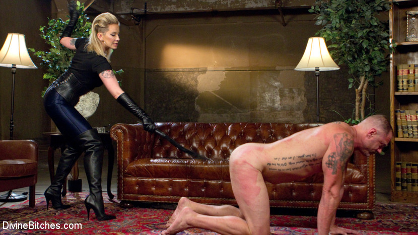 Maitresse madeline dick drains new slave with her evil dominatrix cunt. New slave, D. Arclyte, desperately wants to get past Maitresse Madeline's security, but only the luckiest of slaves get the password. Lucky for D. today he has guessed right and is catapulted into an erotic world of strict and erotic femdom, executed with precision and finesse by one of the top dominatrices in the entire world! Madeline puts him through his paces whipping him into submission while teasing him with her sexuality. He is tasered and prodded with electricity and made to beg for it deep in his ass. Something that he desperately loves. Madeline is an expert prostate milker and gave D. multiple orgasms by pressing all the right buttons in his ass. She then rides his cock like there is no tomorrow, using him as a human dildo and getting all the pleasure she deserves, stealing his cumshot from his cock then spitting it back in his face!