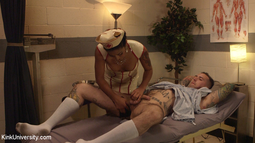 Medical play 101. Latex nurse Daisy Ducati and Ruckus give you a peek into kinky medical play...AND inside their orifices! Learn the basics of medical fetishism, including role play and medical-style bondage, prostate examination, and using a speculum to examine inside your partner's pussy or ass. Daisy and Ruckus also demonstrate sounding, sticking medical grade stainless steel rods into his penis while jerking him off. Watch the inside of Daisy's pussy clench and spasm as she cums multiple times.
