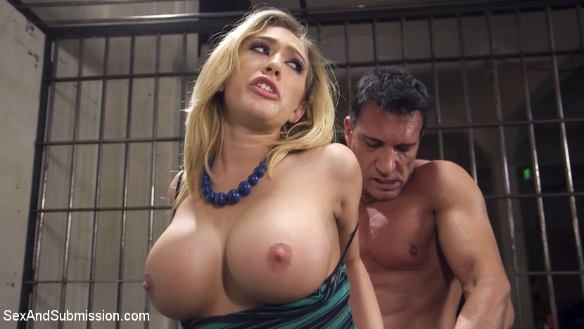 La turista. When bitchy, voluminous tit American tourist Kagney Linn Karter gets caught at the Mexican border with a purse full of pills, the border police are none too pleased with her privileged attitude. Border Policia Marco Banderas puts the curvy rich bitch in a cell, handcuffs her, strip searches her and when she protests he shoves his rough dick down her throat to shut her up.Stripped and jailed, Kagney is taken out of her cage only to be used as a plaything for the sadistic guard. He cuffs her to the St Andrews Cross and sexually torments her for fun - that Sick Bastard.When her jailer grows tired of tormenting Kagney's huge, creamy tits, he ties her down and fucks that privileged American bitch right in the anus with his huge Mexican dick. Kagney learns to love the attention, and begs for more as Marco spills his hot seed all over his slutty captive. Kagney takes a hit to her Pride and Privilege, but learns a rough lesson in international relationships.