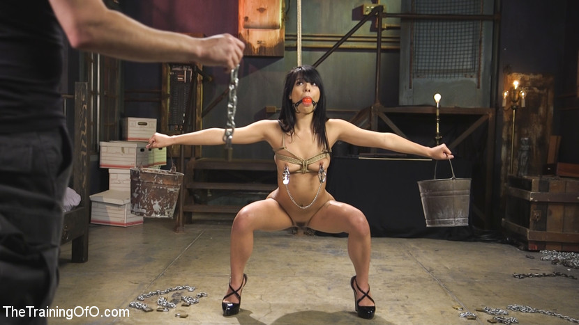 Gina valentina earns her collar. Super hot Gina Valentina wants to earn her slave collar so badly she will do anything to get it. Gina's good mouth drools around the large red ball gag as she squats with the buckets and the nipple clamps - awaiting her fate. Will it be pain or enjoyment for the eager little slut and then, a face full of violent cock. Reward for her slutty performance is an orgasm - now get it, Gina.When Gina is bent over naked and bound to the fuck box, her little pussy opens up to take Tommy's fist! pussy fisting little slut. Tommy canes her analy and thighs for being such a whore, then he fucks her silly, doggie style, while finger banging her tight analyhole.Gina loves it and fucks Tommy back like a bitch in heat, all day long. This babe is super sexy, and she gives it up for us, violentcore, in this hot update.