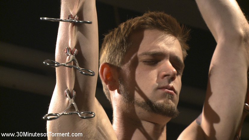 New sub joshua james faces inhuman challenges head on. THE WALL- Joshua James is chained to the wall while still feeling fairly confident. That is, until the crop and zapper wear him down.THE PIT- Joshua discovers newfound sensitivity in his nipples as they are attached to clamps tied to either side of the room. Joshua then takes a flogging from all directions before, being suspended in the air to handle the floggers at full power.THE GIMP- Joshua awaits the Gimps cruel penish while tied down to a make love box, but not before feeling the wrathful power of the cane and crop. The Gimp fills Joshua's tight hole with cruel penish, while two floggers smack against his feet. The Gimp blows his load all over Joshua's face. Joshua is proud to have overcome the challenges and shoots his ejaculate all over the floor.