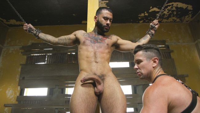 Bound Gods - Rikk York - Trenton Ducati - Rikk York Loves to Lick Leather while being Chained and Flogged #2