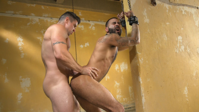 Bound Gods - Rikk York - Trenton Ducati - Rikk York Loves to Lick Leather while being Chained and Flogged #15