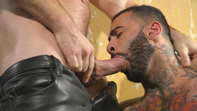 Bound Gods - Rikk York - Trenton Ducati - Rikk York Loves to Lick Leather while being Chained and Flogged #3