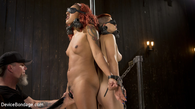 Two sluts suffer in grueling bondage with squirting orgasms.