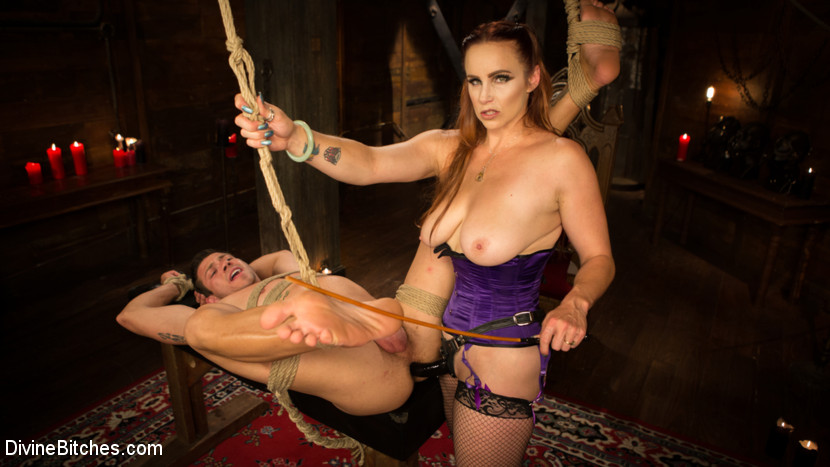 Birthday surprise gorgeous bitches style. It's Reed Jameson's birthday and he wants nothing more than to spend the day getting teased and tormented by Bella Rossi in the elegant Bitches dungeon! Bella is banging in this hot scene with tight bondage, heavy strap-on anally pegging, foot worship, anally worship, cunt worship and he even gets to fuck the hell out of dominatrix Bella! Of course he also has to eat up all his cum in the end! Happy Birthday to you Reed!