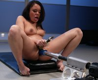 Sexy Annie Cruz squirts pussy juice all over the fuckingmachines.
