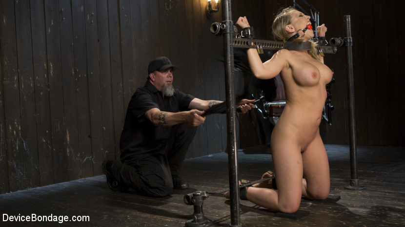 Making of a masochist. Kagney is new to this and is eager to change that. She wants to know what she has been missing ou ton, so we lock this busty blonde slut into our first device. The Pope goes between pain and pleasure to have sex with her, yet not break her out of the gate. After she orgasms harder than she ever has, and not even sure why, we move to the next positions. Each one more grueling than the previous one to ensure she suffers. She is taken down a path of S&M, shown what real domination is, then made to orgasm. Her mind is still trying to comprehend what has happened to her, and she knows that whatever it is, she wants more.