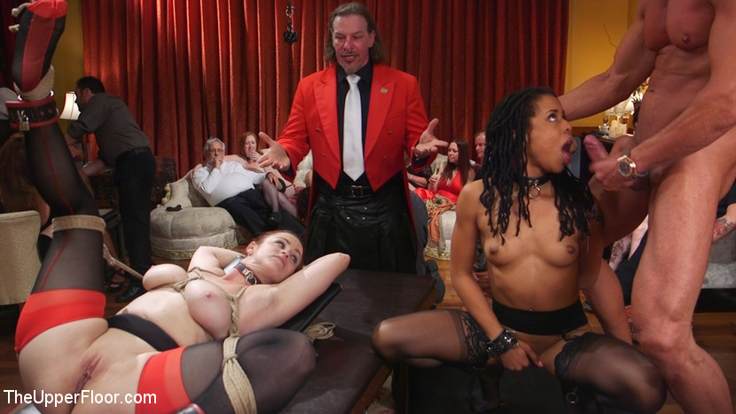 Slave orgy unchained. The outrageous conclusion of a slave orgy featuring senior slaves Bella Rossi and Mona Wales and their proteges Kira Noir and Lilith Luxe starts with a bang. Bella and Kira are rewarded for their victory in Part One, taking turns on Marco Banderas' punish cock. After Bella has taken her reward, Kira proves her mettle and endures an epic, brutal arse fucking.All four slaves are then brought together in an untamed orgy of fisting, fucking, sucking, begging, cumshotshot and cumshot eating, while house guests surround them, goading them on. It's an explosive conclusion you don't want to miss!