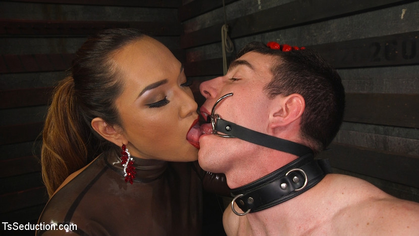 Latex clad domme torments violent cocked slaveboy. Jessica Fox whips, crops and then fucks Artemis Faux in both his hungry eager holes. This lucky slave gets to worship her delicate pink butthole, raging heavy dick and perfect round tits. He is then suspended from the ceiling where she shoves her red gloved fist up his butt before plowing her stiff dick deep inside him. Jessica rewards his devotion by leaving him spinning in the air with his butt dripping with her hot cum.