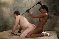 Black hung beautiful TS fucks her straight slave boy.