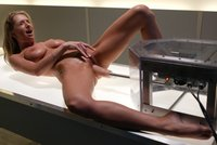 Sammie Rhodes natural DD breasts sway while she gets machined.
