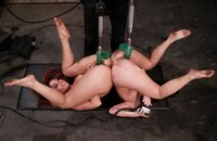 ArielX, Satine Phoenix-bound, machine fucked and girl/girl action