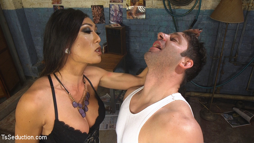 Venus lux takes down the building manager. Venus Lux is fed up with Rick Fantana's poor management of her apartment complex. She confronts him while he's on his break then breaks him down! With the threat of getting him fired, she makes him worship her from the feet up, feeds him her graceful violent cock, and rips him out of his clothes to do with as she pleases. She spanks him then fucks him violent and deep, until the manager who first resisted now begs for more!