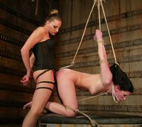 Girls head in steal ball bondage and forced to cum with ass hook.