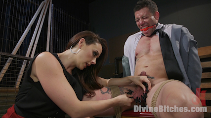 Secretary put her boss in submission: in bondage and helpless he undergoes cock and balls torment followed by degrading anal strap-on sex