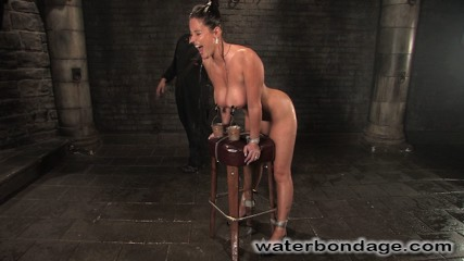 Christina carter. Model with cruel breasts is machine-fucked and hosed down