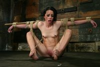 Sexy shaved Alexa is tighly bound and suffers nipple torments