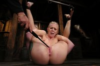 Sexy blond gets tied up hard, abused, DP'd and made to CUM.