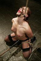German hottie gets bound, sprayed with water and dunked