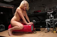 Blonde babe with big tits gets pussy banged by fucking machines