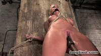 Hot Shaved Blond MILF is Bounded, fucked and made to squirt.