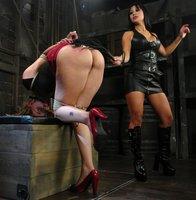Two dirty busty girls in lesbian BDSM porn