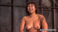 Hot shaved Asian girl bound, and tickled to tears.  Hogtied.com