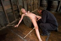 Hot blond get tied up, ass fingered and made to cum.  Hogtied.
