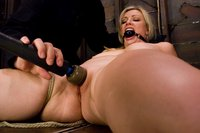 Big titted blond, takes heavy breast bondage and massive O's
