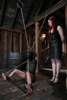 80's chick dominated by lesbian in extreme bondage.