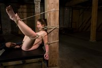 Alyssa, trapped, bound, and tortured in basement, made to cum.