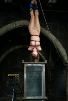 beautiful girl is suspended upside-down and dunked in the Houdini tank.