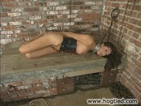 Girl imprisoned, suspended, thrown in the stocks.