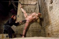 Hot blond tied up compelled to cum, and fucked by an evil bitch.