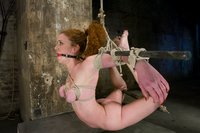 Amazonian red head, stripped, bound, and made to CUM!
