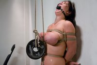 Huge Tits tied up and abused!  Naked shaved slut punished.