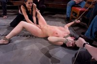 Beautiful brunette gets tied up and fucked for the first time