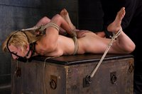 Hot blonde tied tight & made to squirt on herself