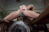 Brand new hot red head gets machine nailed for the first time.