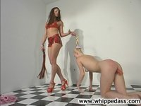 WhippedAss begins more girl/girl, Kym spanks Sharon Wild hard