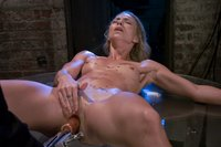 Hot blonde  newcomer gets bound, machine fucked and cums for real