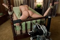 ARCHIVE CLASSIC SHOOT - Industry sweetheart, scoring hot,Charlie Laine fucked by machines while tied up and gagged.