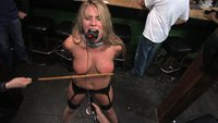 Girl sucks cock and gets fucked by a biker bar of horny dudes